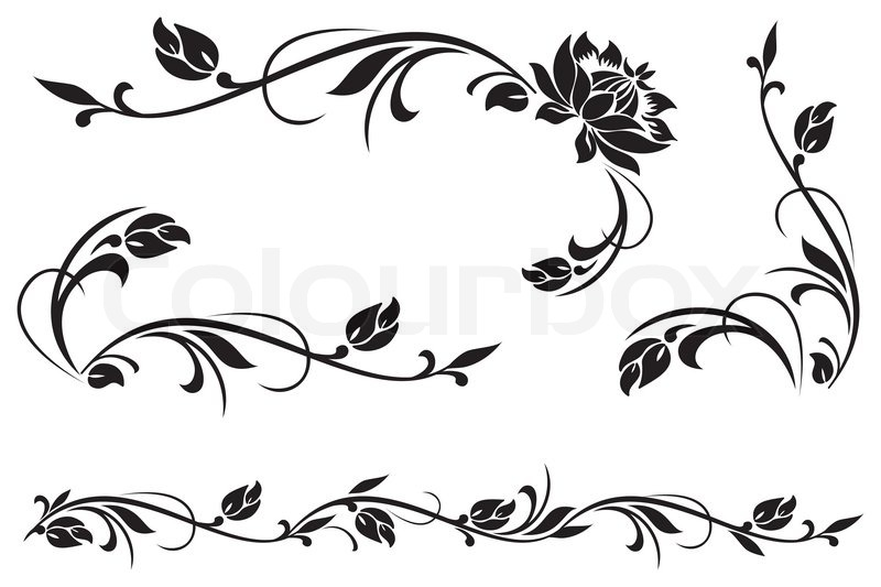 vector design elements for floral ornament stock vector colourbox