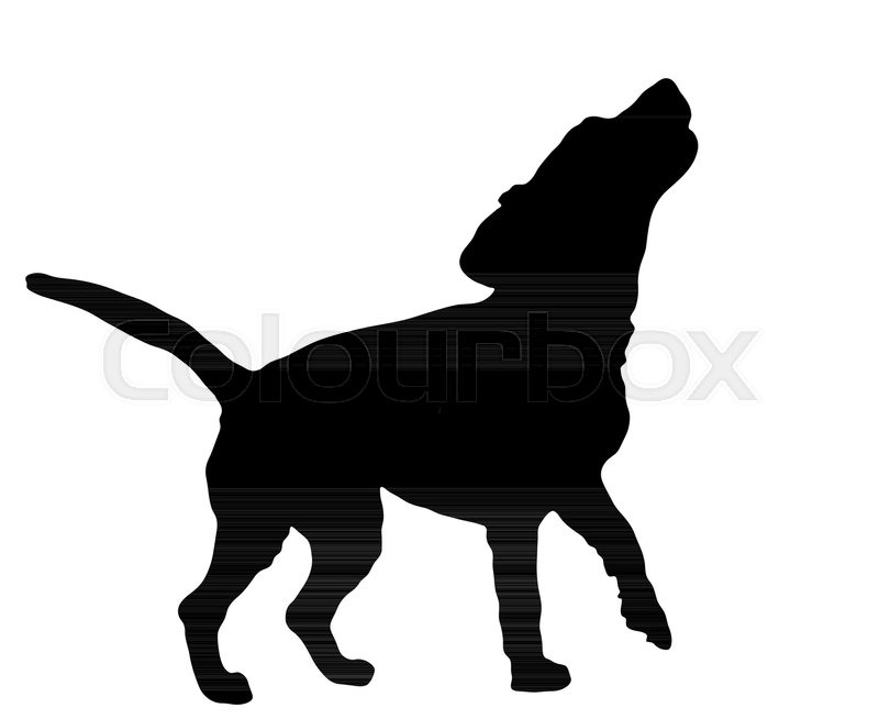 Black Silhouette Of Barking Beagle Dog