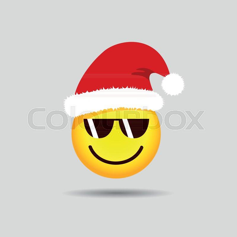 Cool Santa Claus emoticon with sunglasses smiley emoji vector ...