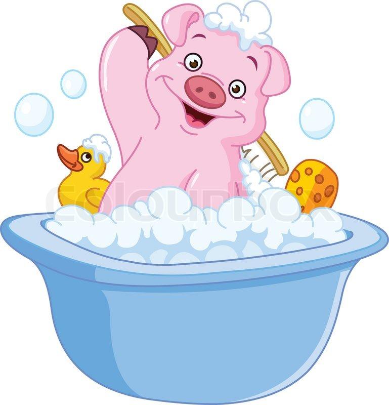 pig taking a bath stock vector colourbox