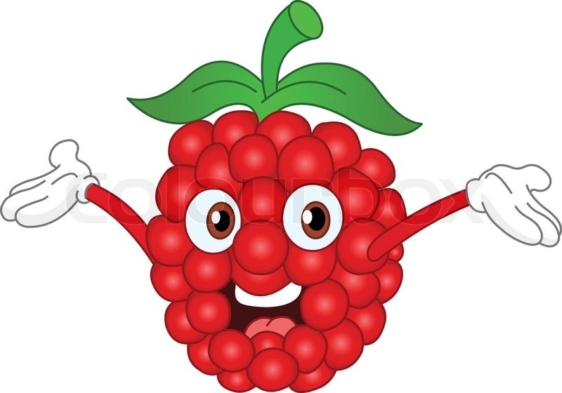 Cartoon Raspberry Raising His Hands Stock Vector Colourbox