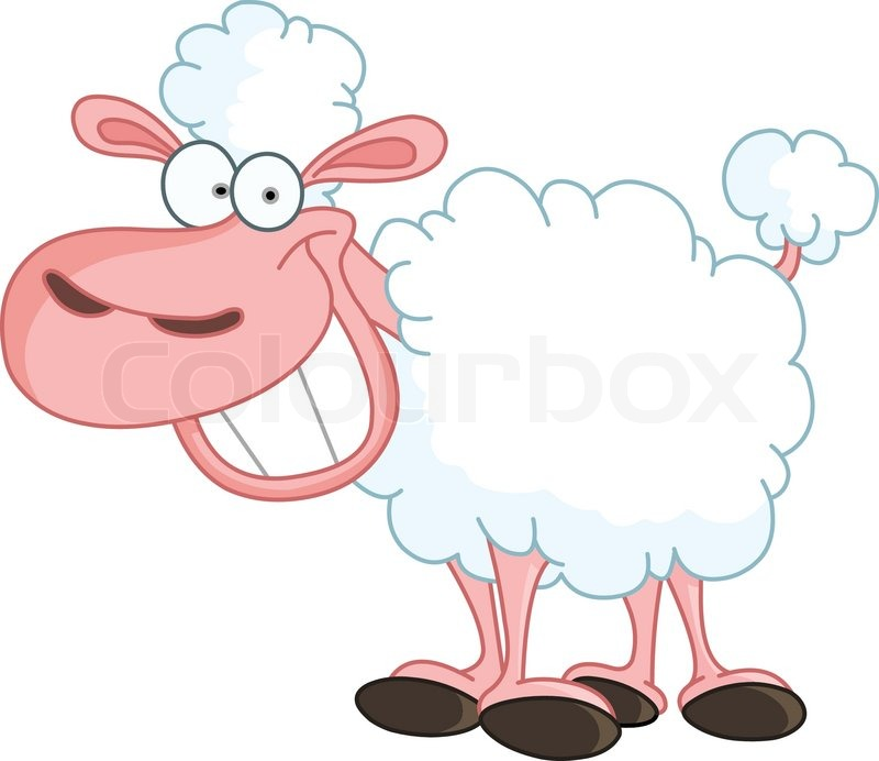 Funny sheep with big smile | Stock Vector | Colourbox