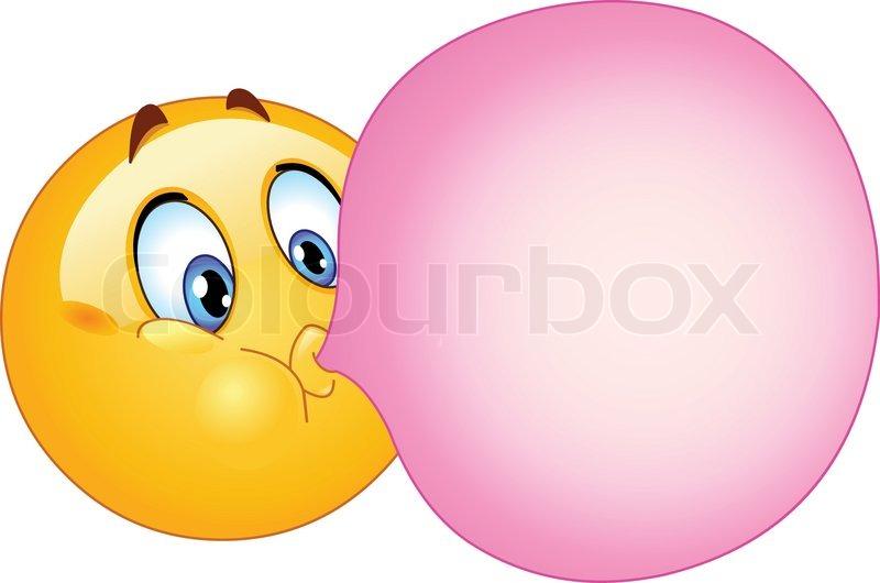 Humørikon blæser en ballontyggegummi | stock vektor | Colourbox