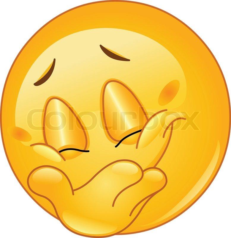 Stock-Vektor von 'Emoticon versteckt sein Lächeln'