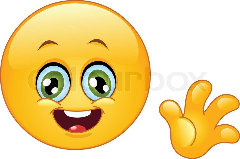 Cute emoticon waving hello   Stock Vector   Colourbox