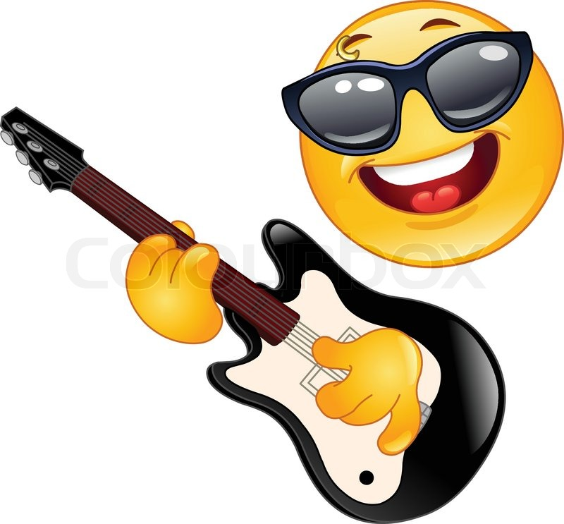 Rock Emoticon Playing The Guitar Stock Vector Colourbox