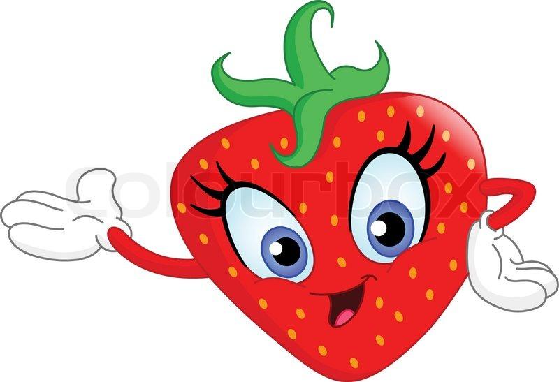 Stock Vektor Von Cute Cartoon Erdbeere Prsentiert Mit Der Hand