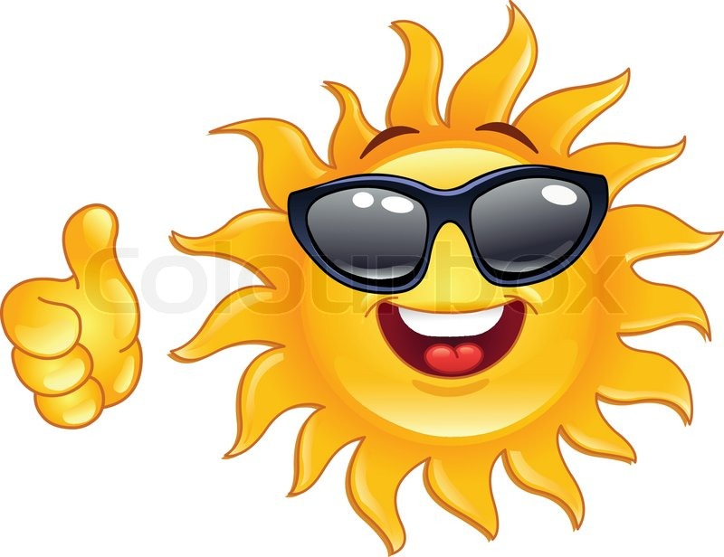 Smiling sun showing thumb up | Stock Vector | Colourbox