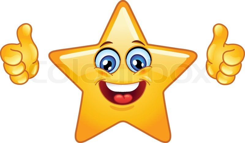 Smiling Star Showing Thumbs Up Stock Vector Colourbox