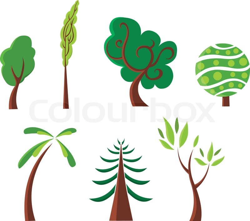 Stylized Trees Set Stock Vector Colourbox