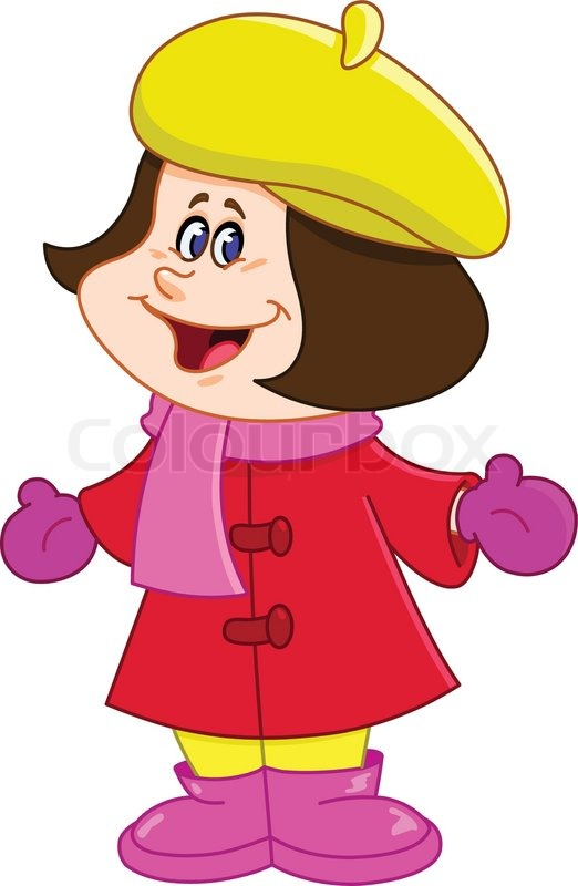 Young Girl In Winter Clothes Stock Vector Colourbox