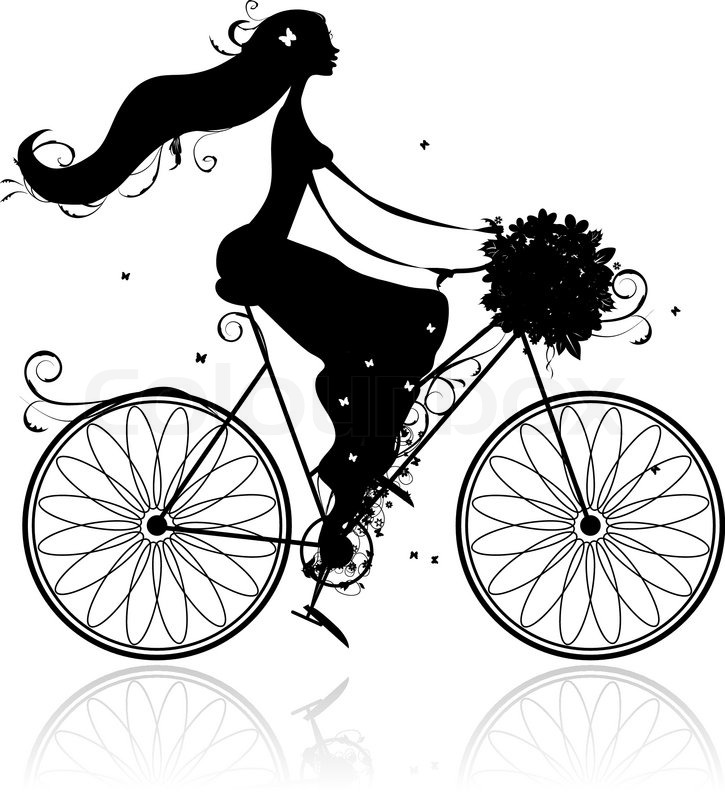 Girl With Floral Bouquet Cycling Stock Vector Colourbox