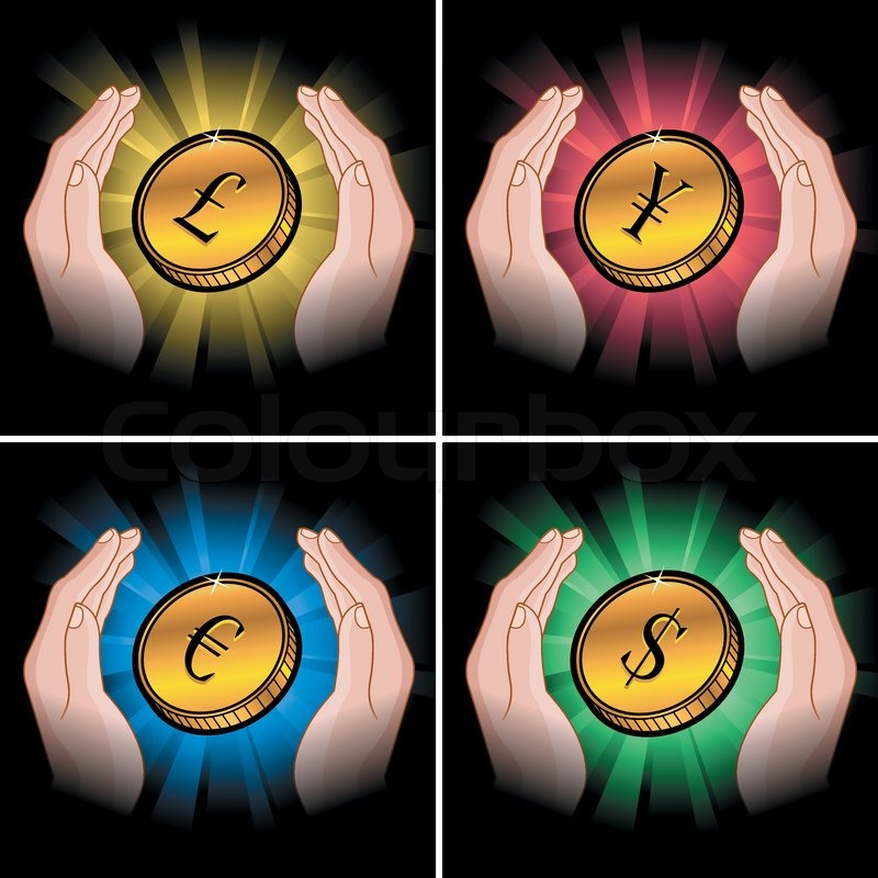 Set Of Golden Coins In Hand With Various Currency Symbols Stock