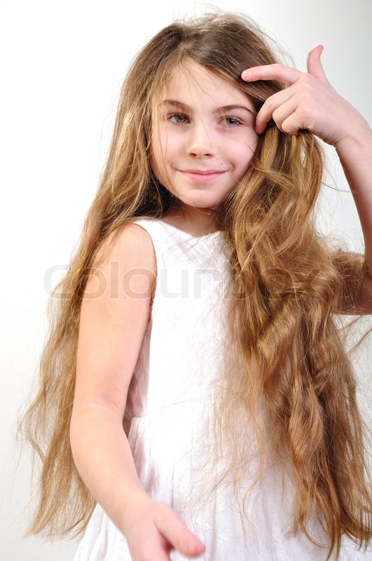 Child With Long Hair Stock Photo Colourbox