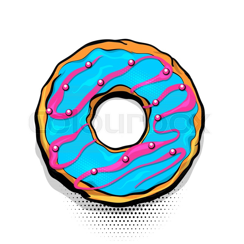 Cartoon Doughnut Factory: Doughnut Sweet Food, Donut Cartoon Pop Art Style. Vector