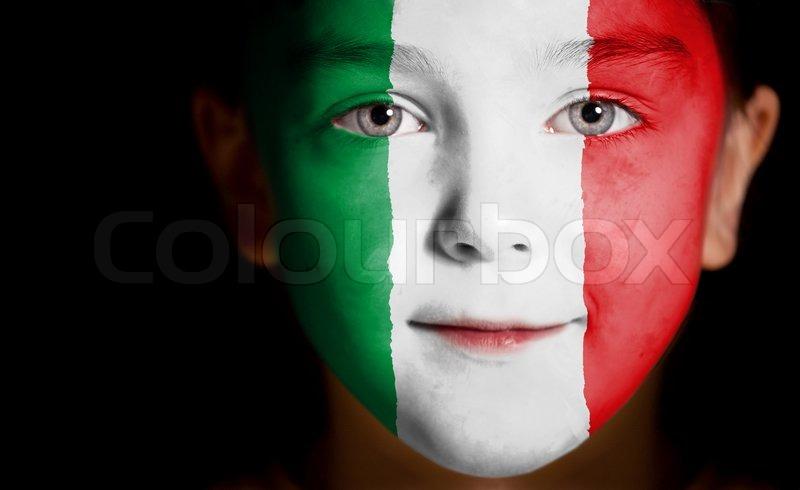 kind gesicht mit der flagge von italien gemalt stockfoto colourbox. Black Bedroom Furniture Sets. Home Design Ideas