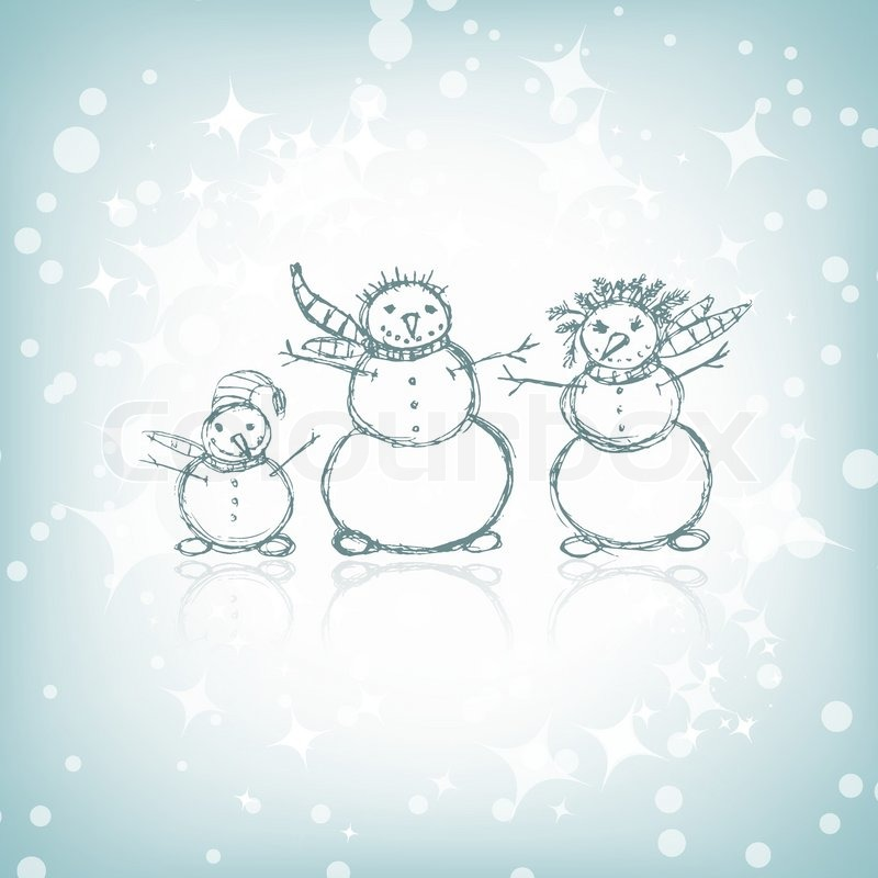 Stock vector of 'Family of snowmen, christmas sketch for your design'