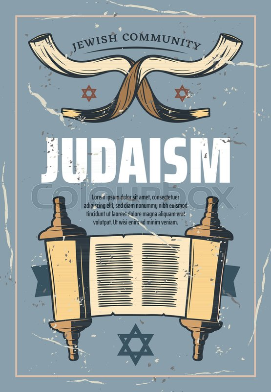Judaism Retro Poster Of Jewish Religious Symbols Vector Vintage