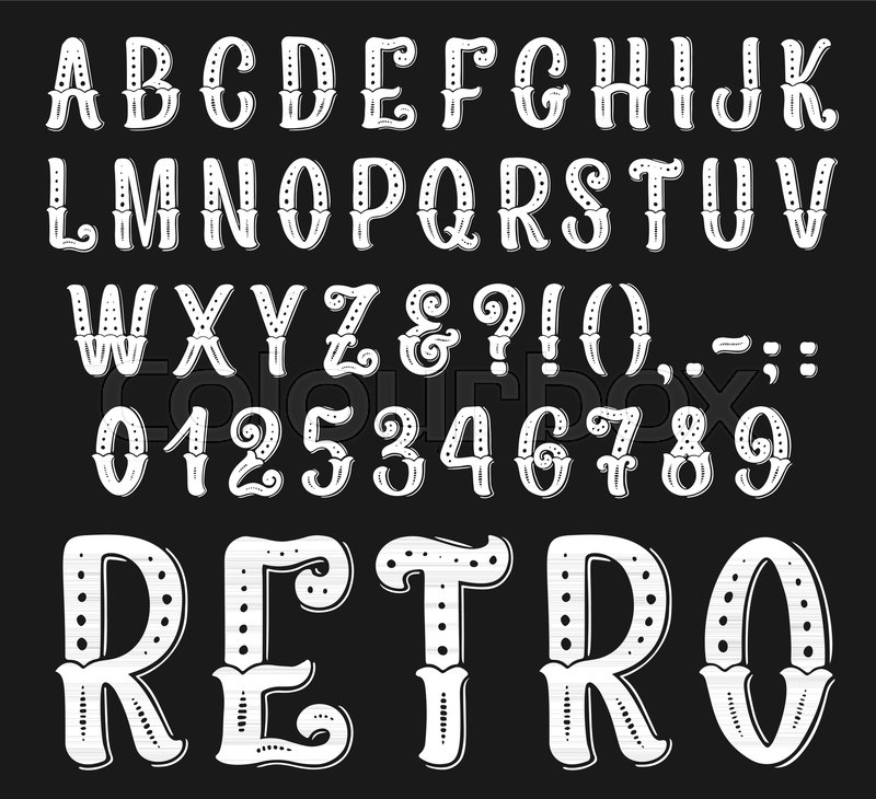 Vintage Retro Font Letters And Numbers Set Vector Set Of Western
