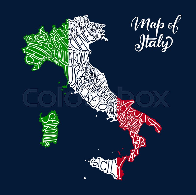 Italy Map Of Regions And Provinces Stock Vector Colourbox