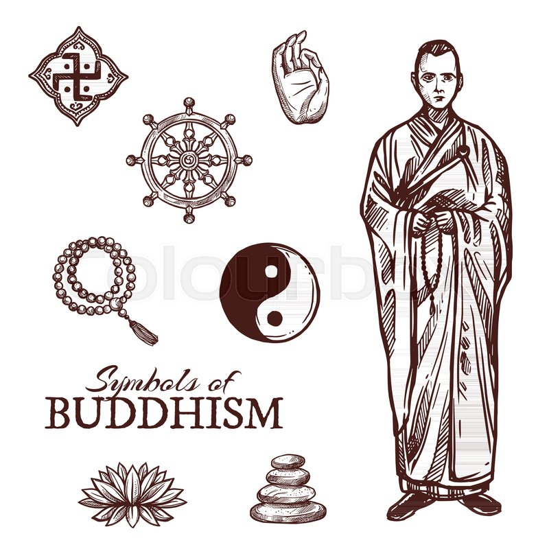 Buddhism Religion Sketch Symbols Vector Icons Of Buddha Hand And