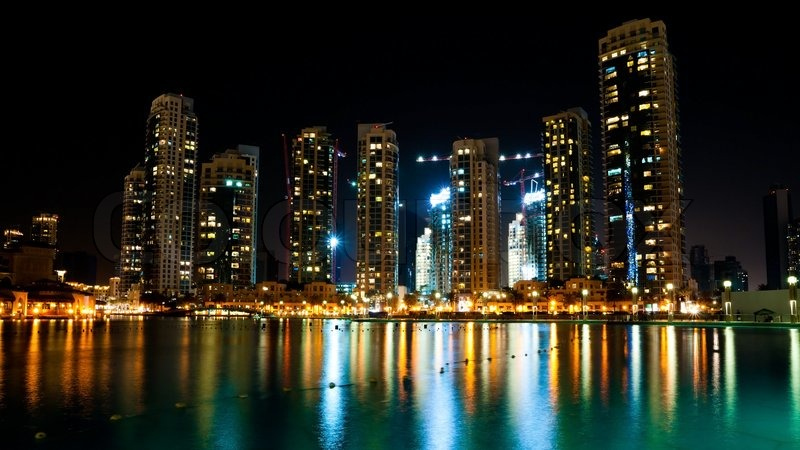 Colorful Night View Of City Of Dubai With Modern Downtown