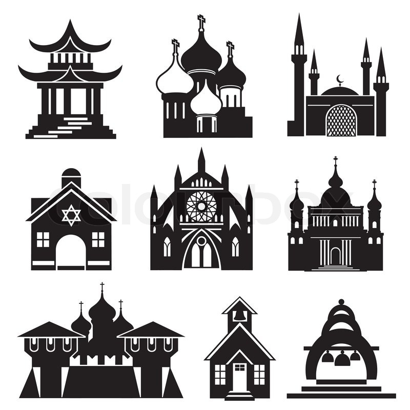Set Vector Black And White Icons Of Religious Buildings And Structures |  Stock Vector | Colourbox
