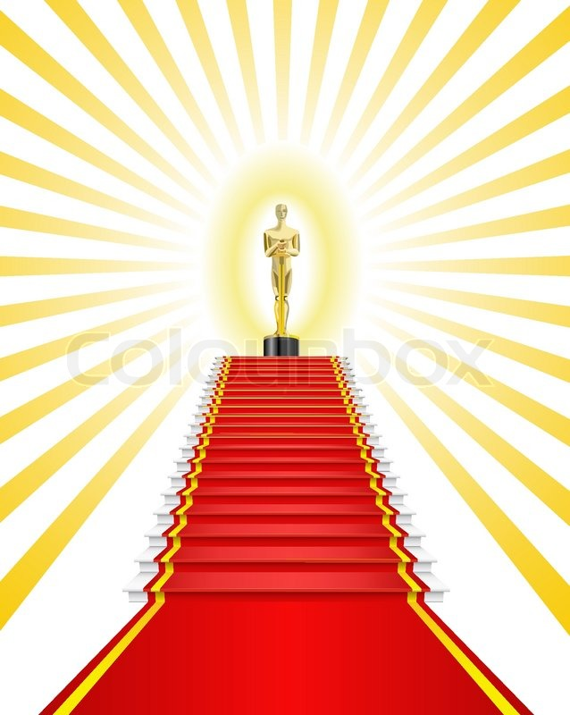 Golden statuette a man on the red carpet is shown in the ...