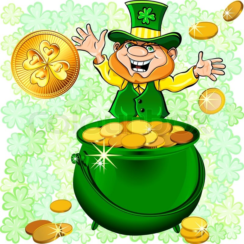 vector st  patrick s day happy leprechaun dancing with a pot of    vector st  patrick s day happy leprechaun dancing   a pot of gold coins on a meadow of clover at sunrise   stock vector   colourbox
