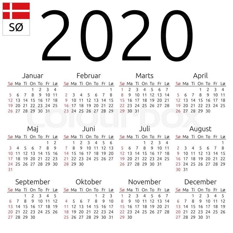 Annual 2020 Calendar Simple annual 2020 year wall calendar.  | Stock vector | Colourbox