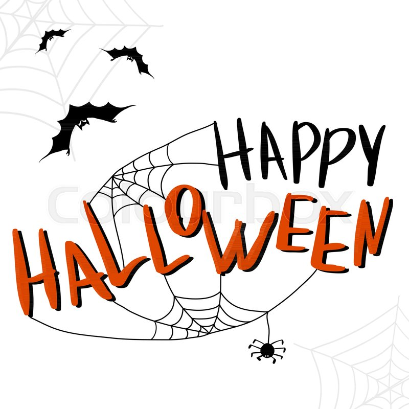 happy halloween template for banner or poster holiday lettering with spider and web vector illustration vector