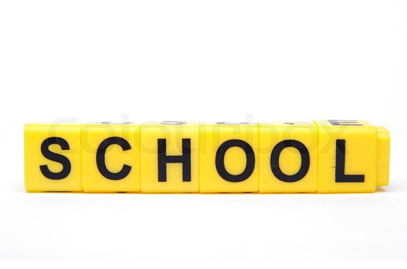 An image of yellow blocks with word ''school'' on them | Stock ...