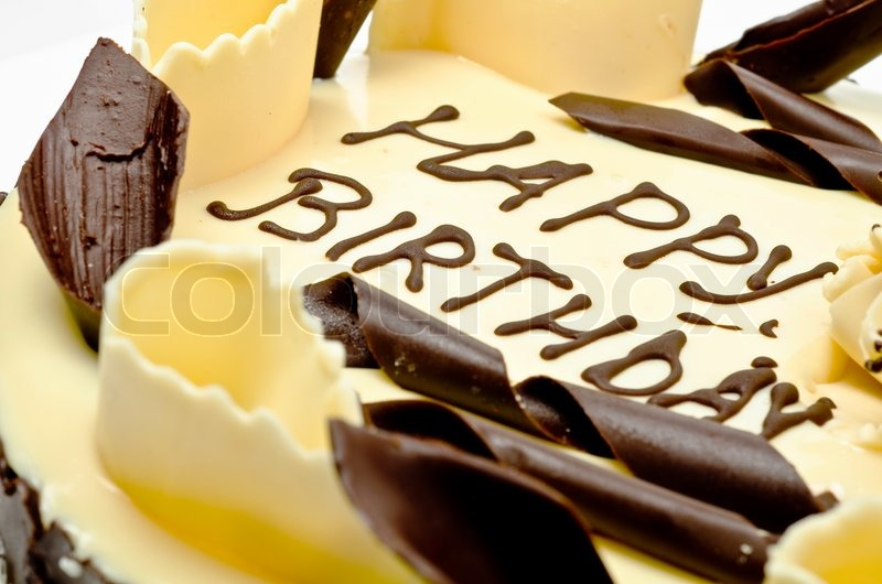 Chocolate Cake With Words Happy Birthday On It Stock Photo Colourbox