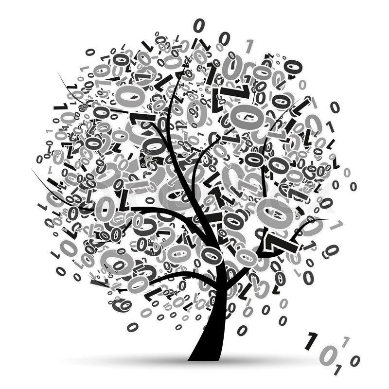 Digital Tree Silhouette  Numbers Stock Vector