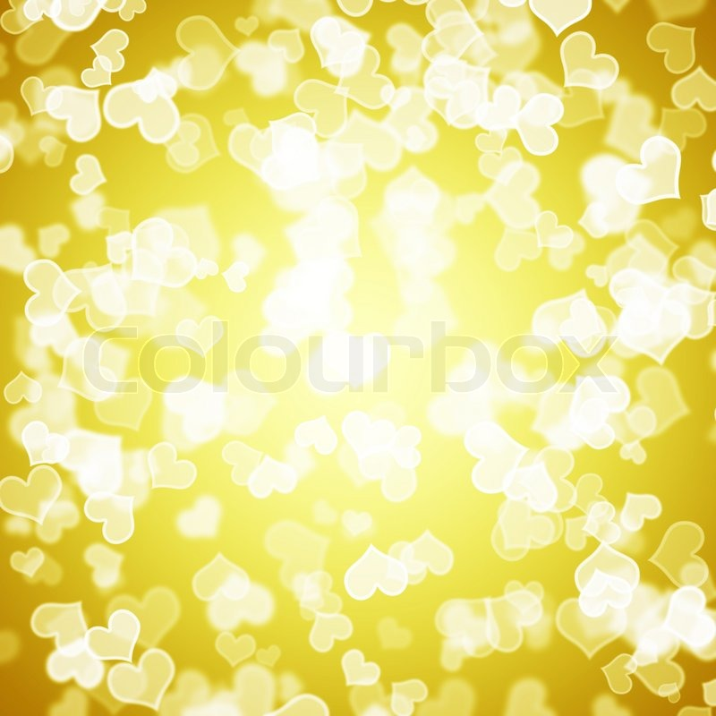Yellow Hearts Bokeh Background Showing Love Romance And ...