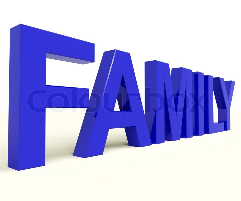Familie Wort Als Symbol Der Elternschaft Stockfoto Colourbox