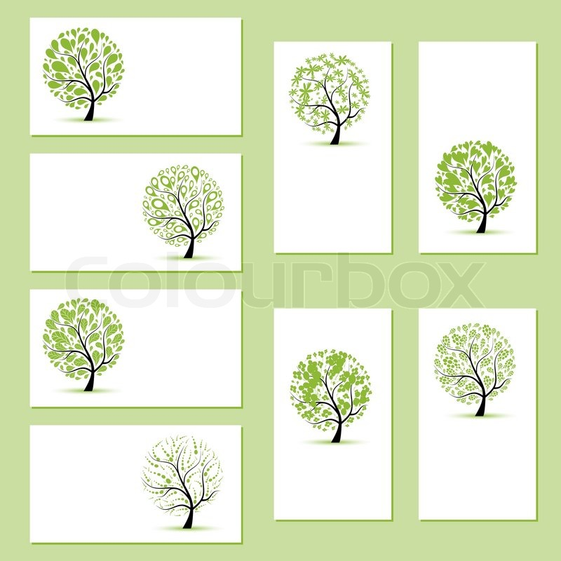 Set of business cards, floral trees for your design | Stock Vector ...