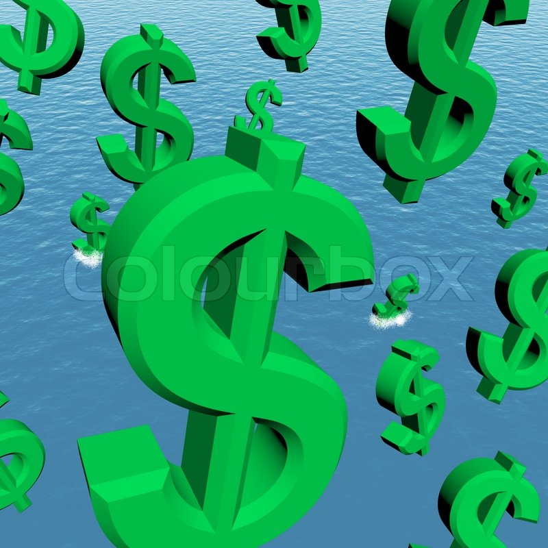 Dollar Symbols Falling In The Ocean Showing Depression Recession And