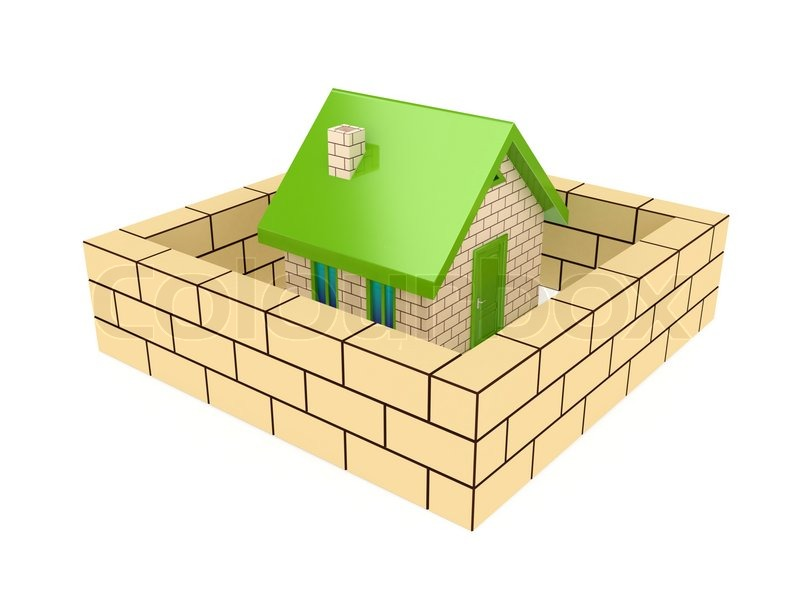 Brick wall around small house 3d     | Stock image | Colourbox