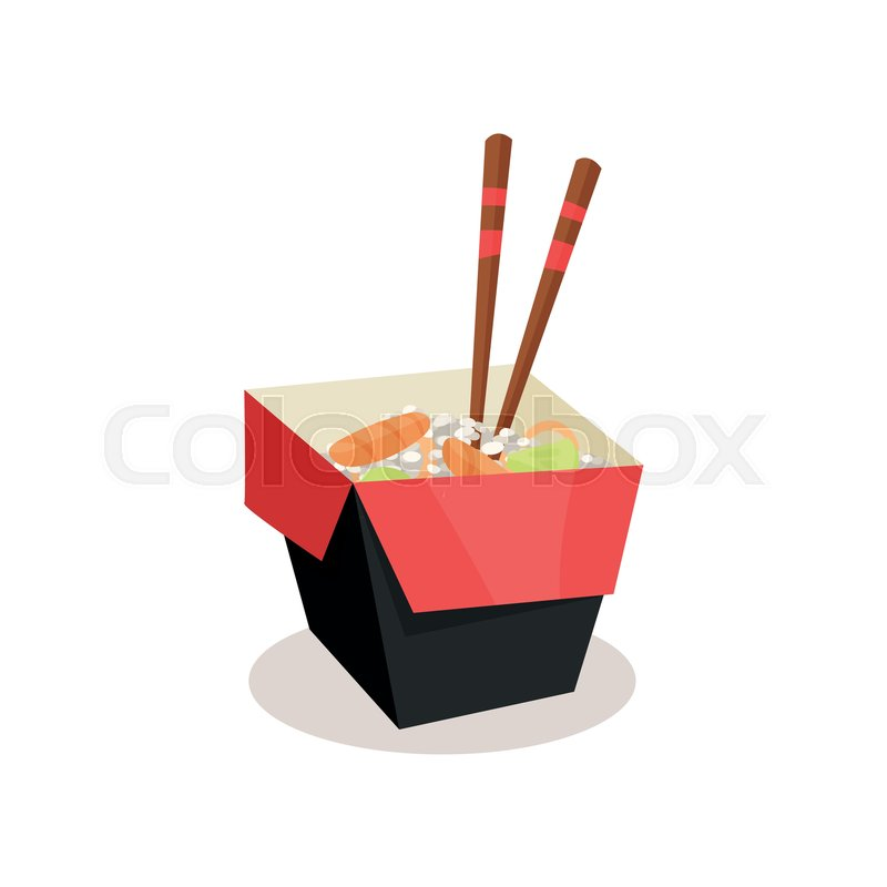 Opened Cardboard Box With Rice Stock Vector Colourbox