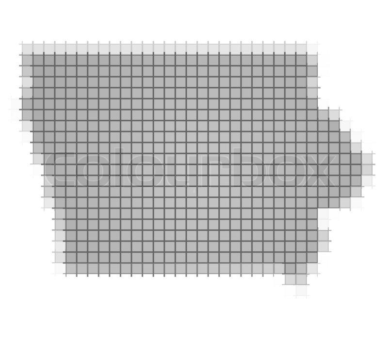 Iowa On Usa Map.Iowa Usa Map Pixels Mosaic Stock Photo Colourbox