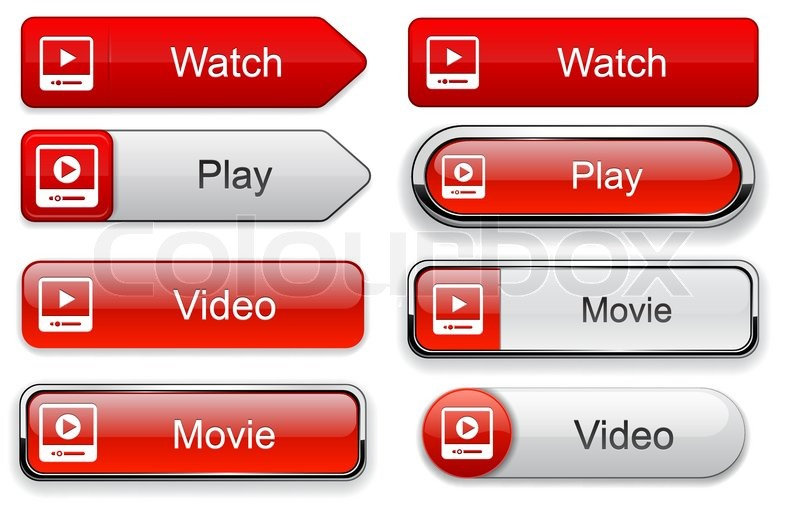 Video web buttons for website or app | Stock vector | Colourbox