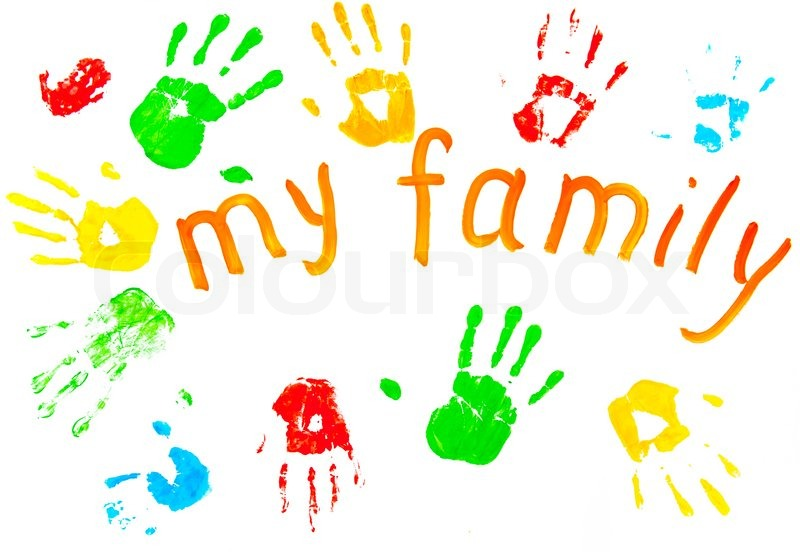 the colorful prints of the family`s palms and theinscription my the colorful prints of the family`s palms and theinscription my family isolated on the white background stock photo colourbox