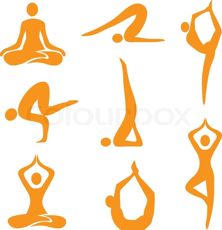 yoga positions icons stock vector colourbox rh colourbox com yoga vectoriel yoga vectoriel