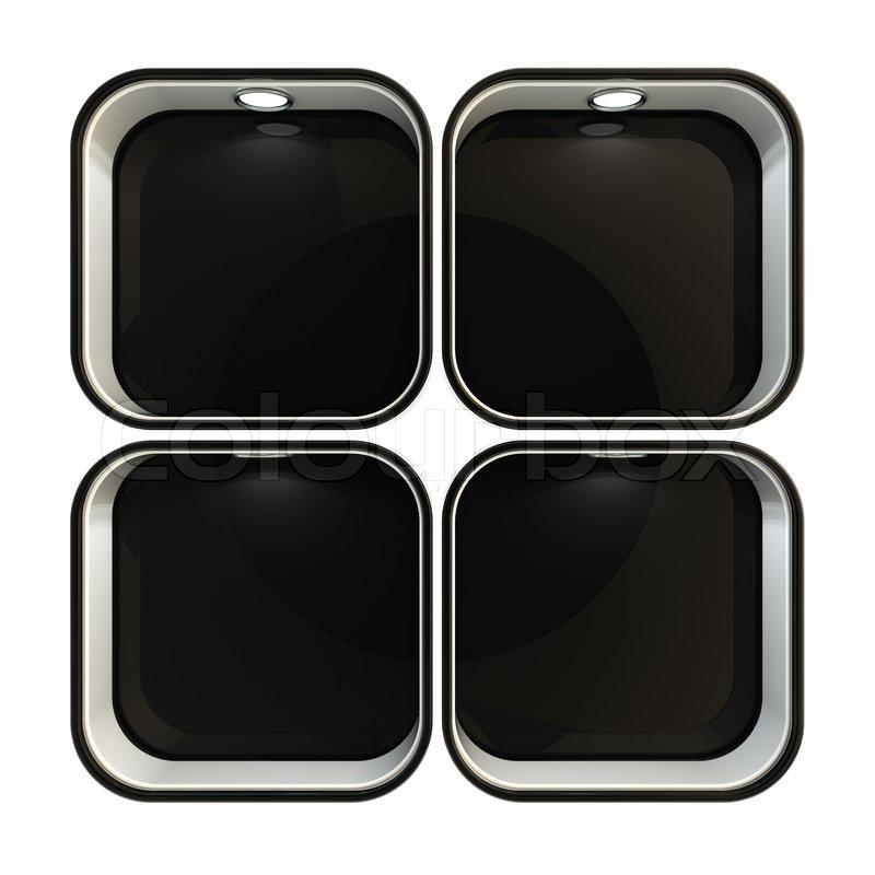 schaufenster copyspace vitrine mit hintergrundbeleuchtung vier gesetzt isoliert auf wei. Black Bedroom Furniture Sets. Home Design Ideas