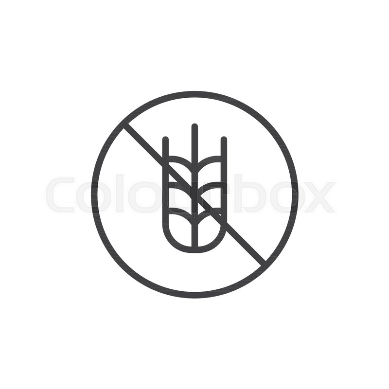 Gluten free label outline icon  linear     | Stock vector