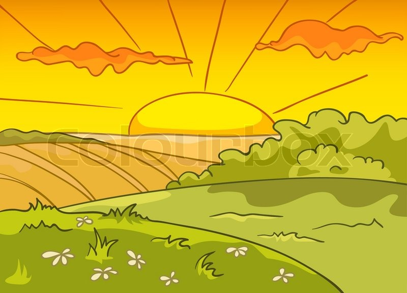 Cartoon Nature Landscape. Farm Field. Vector. | Vector | Colourbox