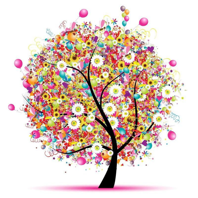 Glad ferie , sjove træ med balloner | stock vektor | Colourbox