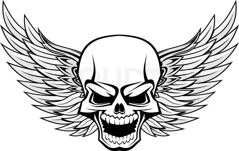 Gefahr l chelnd totenkopf mit fl geln f r tattoo design - Tete de mort dessin simple ...