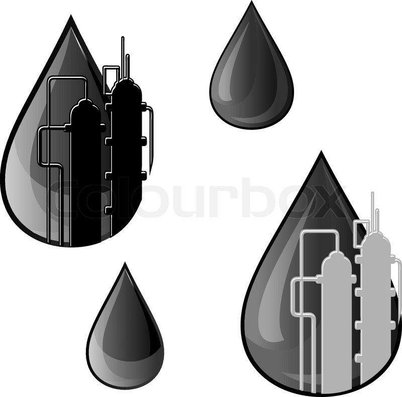Oil And Gasoline Symbols For Refinery Industry Design Stock Vector